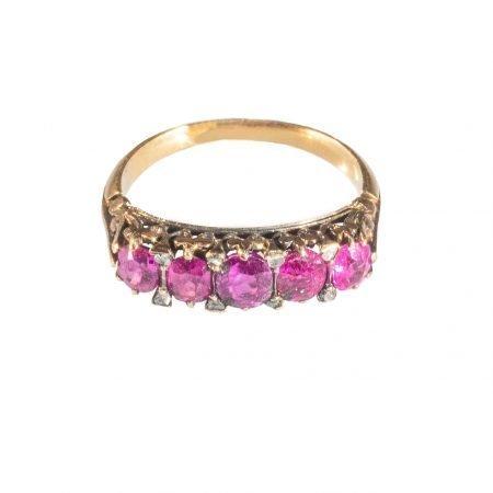 Anello riviera vittoriana diamanti e rubini