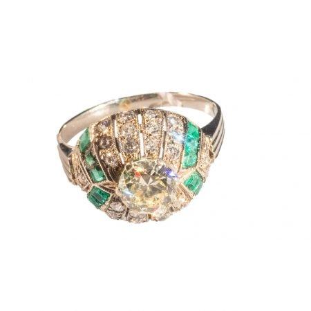 Anello Platino Diamanti e Smeraldi