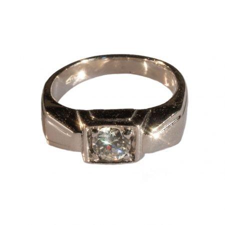 Solitario Déco in Platino con Diamante taglio antico