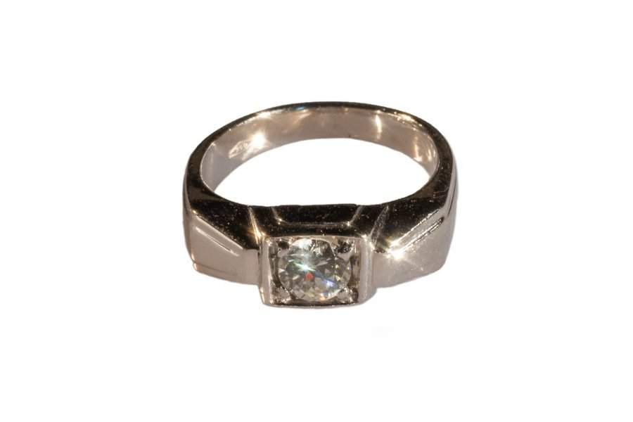 Solitario Déco in Platino con Diamante