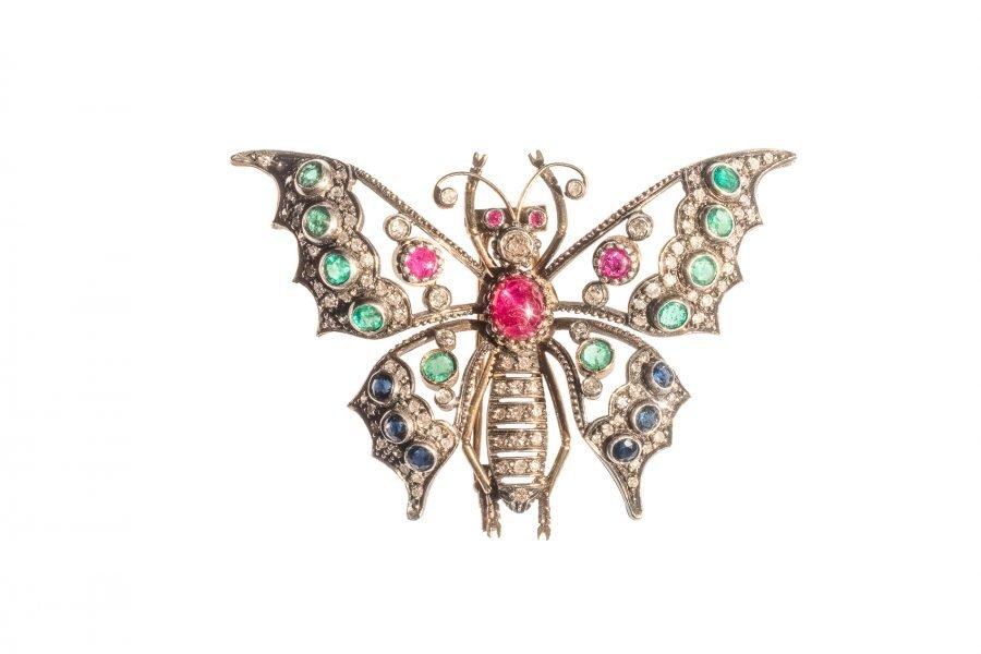 Spilla Ciondolo Farfalla Vintage