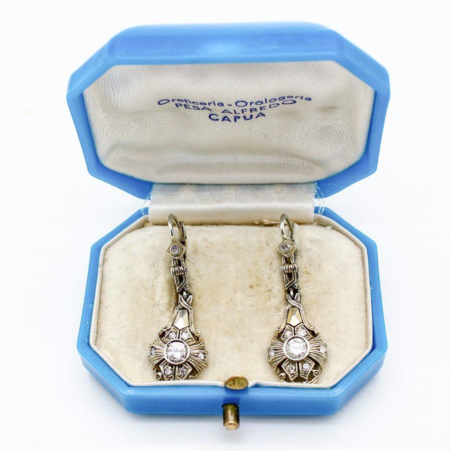Orecchini Pendenti Deco Oro e Diamanti