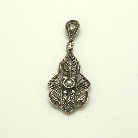 Pendente primi 900 in stile deco in oro argento e diamanti