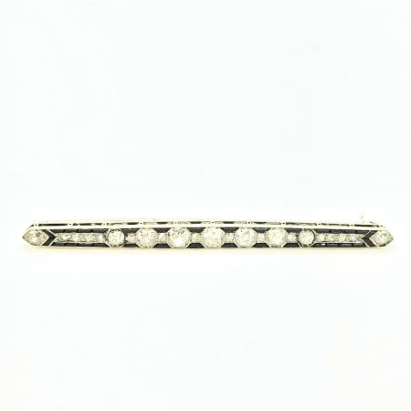 Spilla Deco a barretta platino onice e diamanti