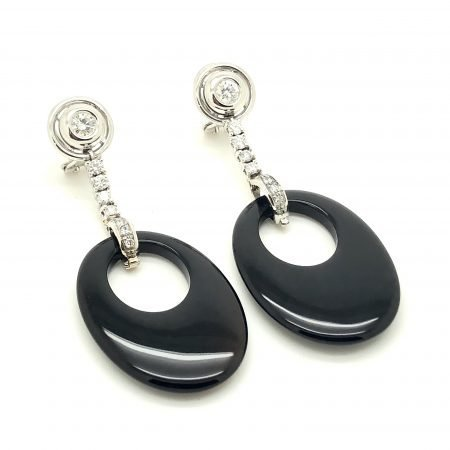 Vintage drop earrings with onyx white gold and diamonds