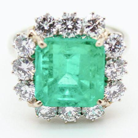 Anello anni 60 con Smeraldo e Diamanti