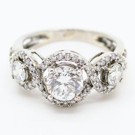 Anello Trilogy in Oro Bianco e Diamanti