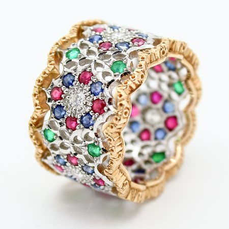Anello Eternelle Vintage Mario Buccellati in oro e pietre preziose