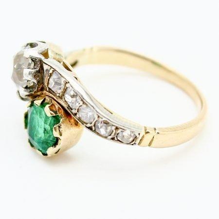 Anello Contrariè Liberty in oro giallo platino smeraldo e diamanti