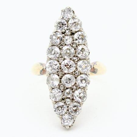 Anello Marquise del '1800 in oro giallo argento e diamanti