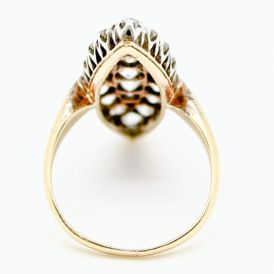 Anello Marquise 1800 in Oro Argento e Diamanti