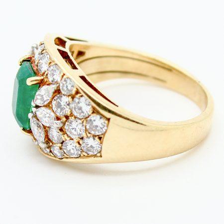 Anello fascia vintage oro giallo smeraldo e diamanti