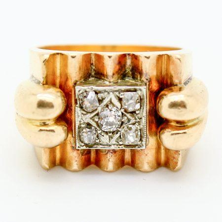 Anello a ponte anni '40 in oro giallo e diamanti taglio antico
