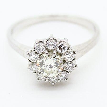 Anello anni '50 in oro bianco diamante centrale e giro di diamanti
