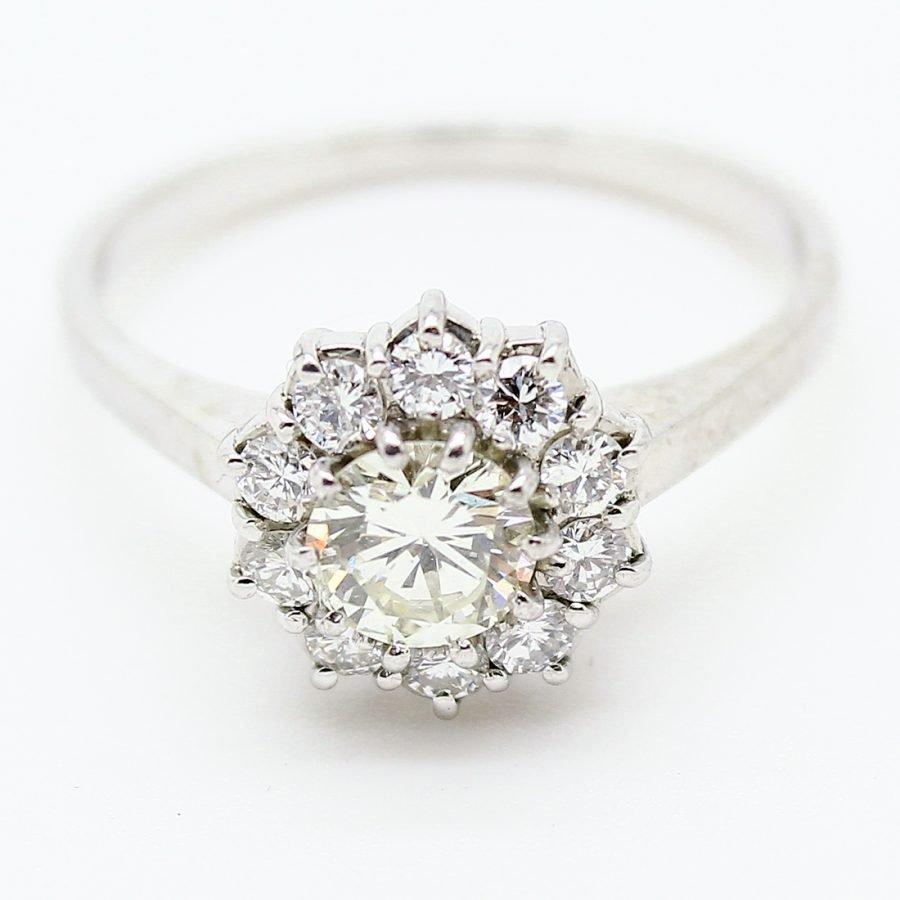 Anello anni '50 in Oro Bianco con Diamanti
