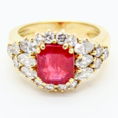 Anello vintage anni '80 oro giallo rubino e diamanti