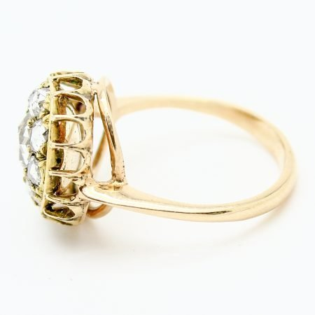 Anello del XIX secolo in oro giallo diamanti taglio a rosa coronè