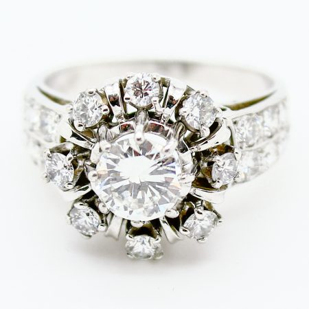 Anello anni '60 in oro bianco 18kt diamante centrale taglio brillante