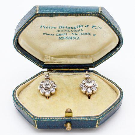 Orecchini austroungarici a grappolo primi '900 in oro argento e diamanti taglio antico