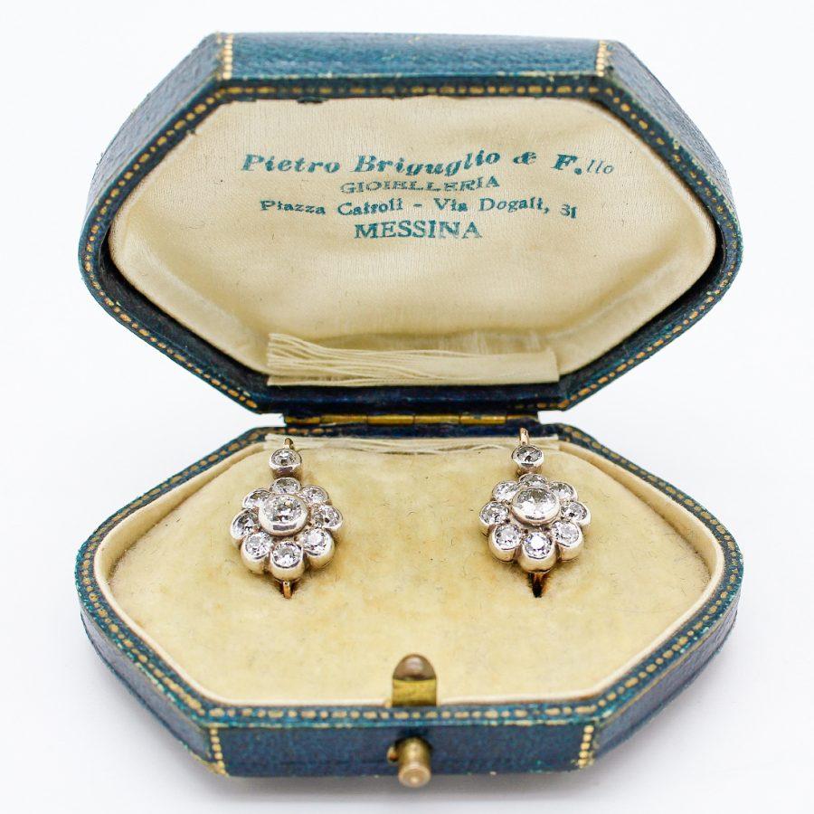 Orecchini del '900 in Oro, Argento e Diamanti