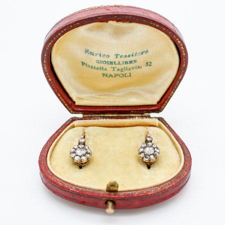 Orecchini antichi austroungarici primi '900 in oro e diamanti taglio a rosa coronè