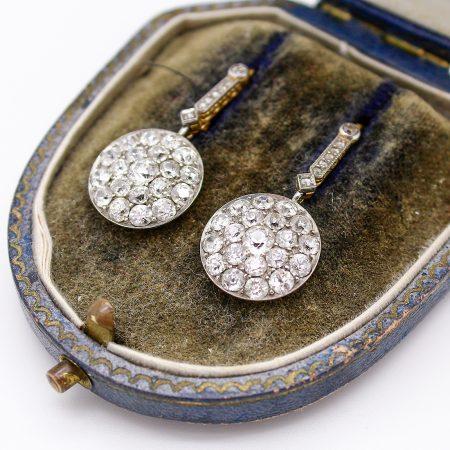 Orecchini pendenti Liberty in oro giallo platino e diamanti taglio antico