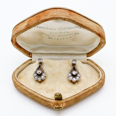 Orecchini antichi primi '900 in oro argento e diamanti taglio antico