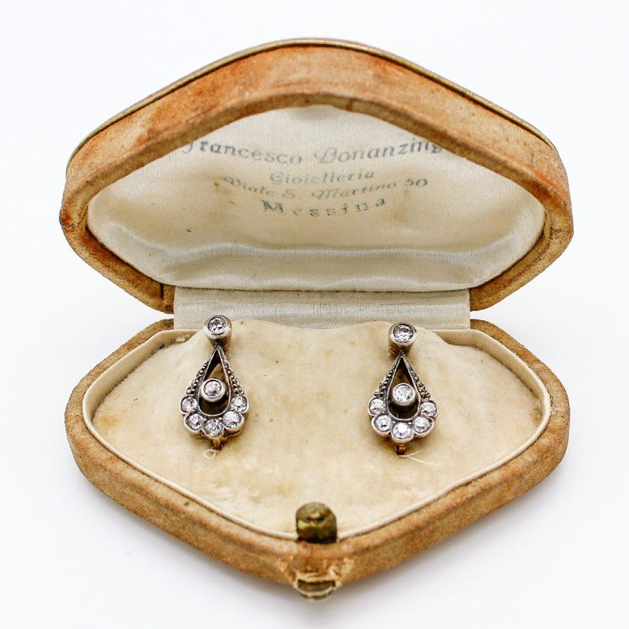 Orecchini Antichi primi '900 in Oro, Argento e Diamanti
