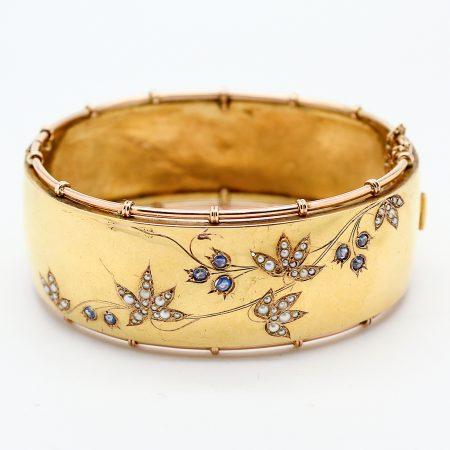 Bracciale Borbonico Italiano in oro perle e zaffiri