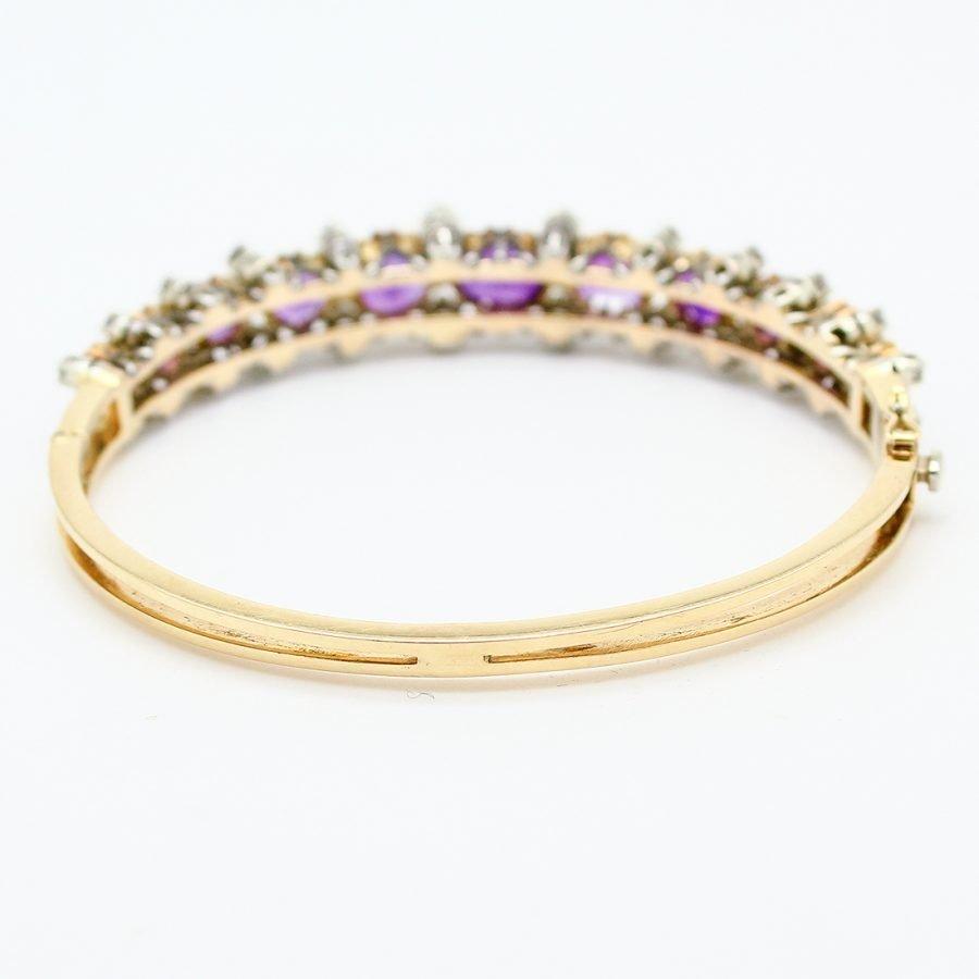 Bracciale Anni '50/60 in Oro con Ametiste e Diamanti