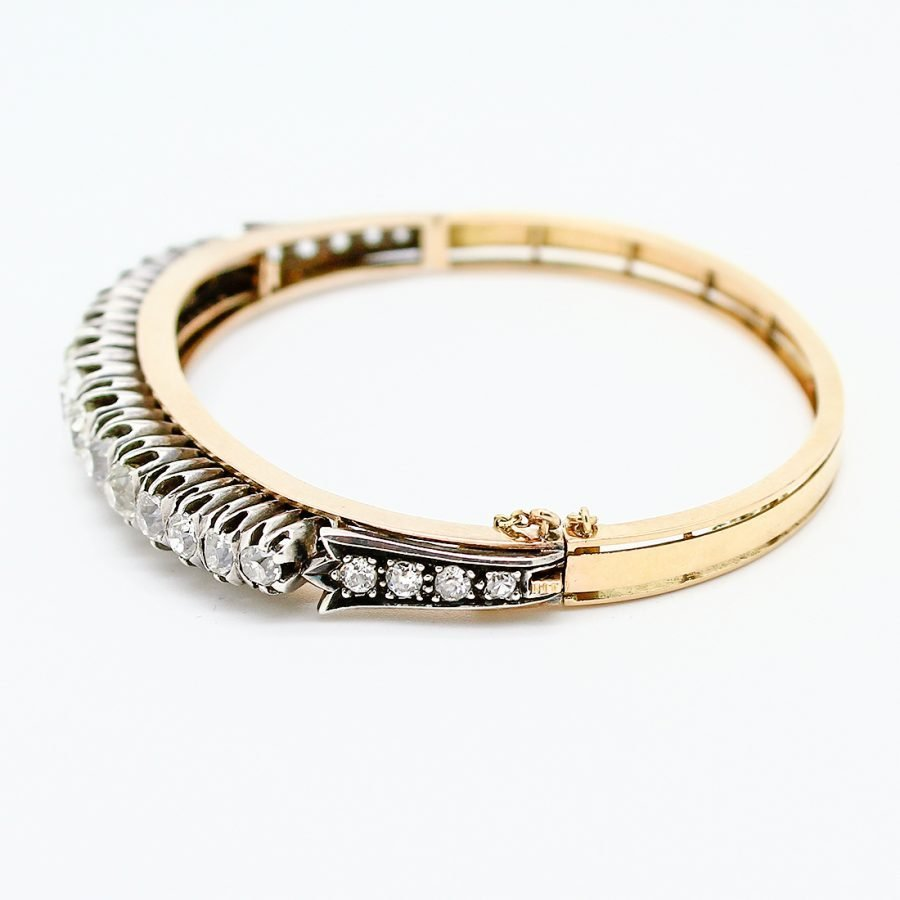 Bracciale Francese del 1910 in Oro, Argento e Diamanti