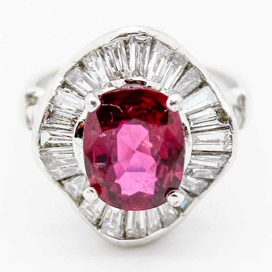Anello Ballerina Vintage con Rubino e Diamanti