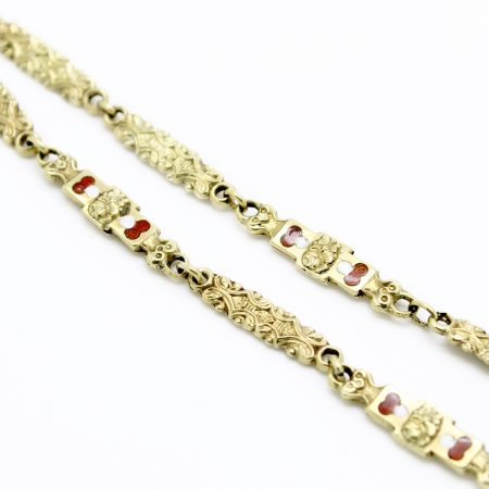 Collana Borbonica modello Chiacchiere del XIX secolo in oro giallo 18kt e smalti