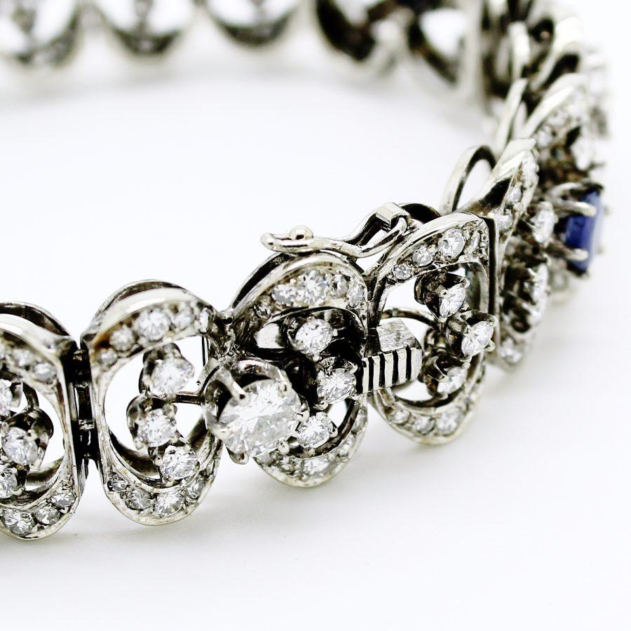 Bracciale anni '50 in oro bianco diamanti e zaffiri