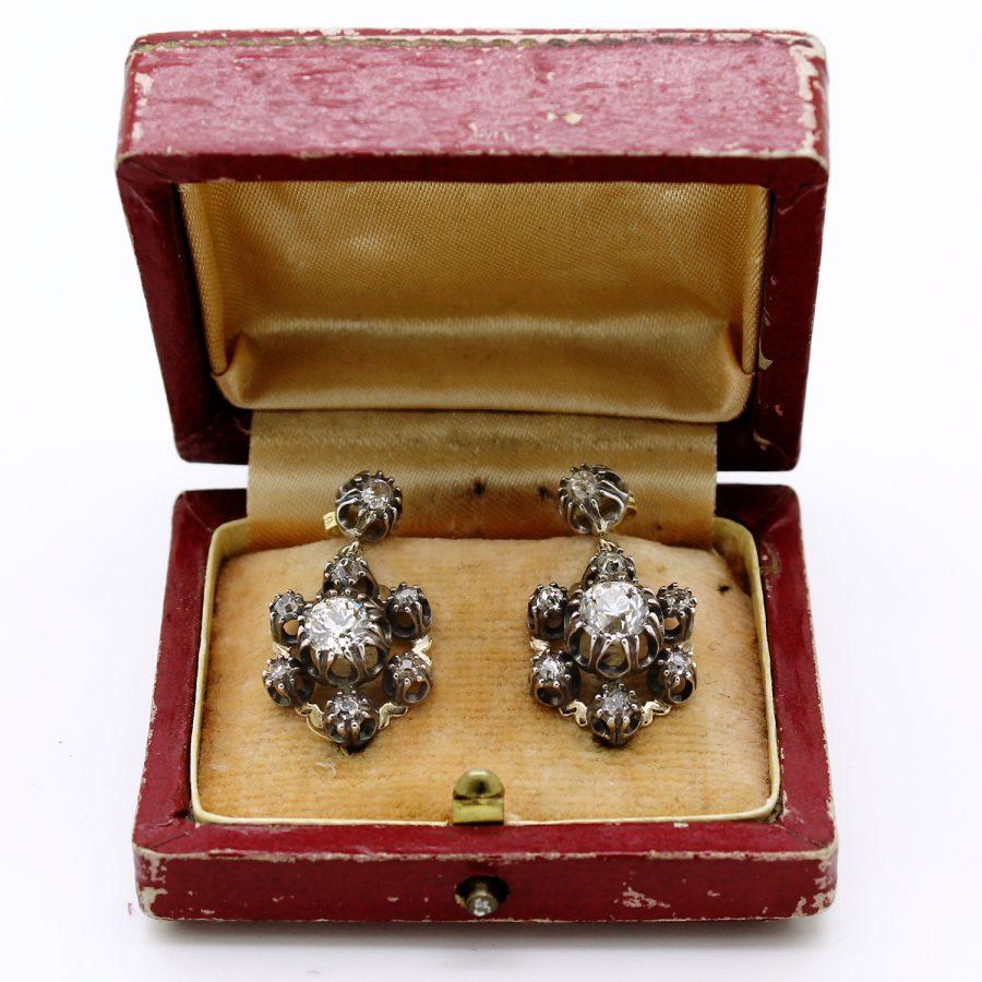 Orecchini pendenti antichi primi 900 in oro argento e diamanti