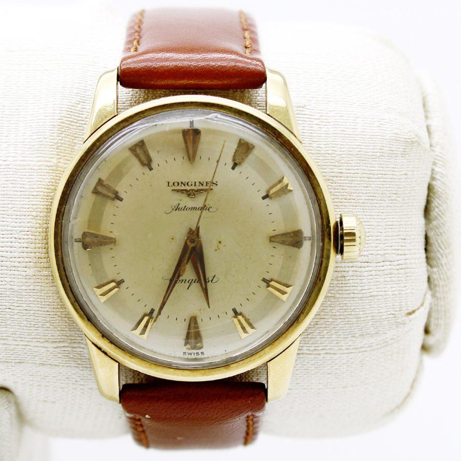 Orologio vintage marca Longines modello Conquest in oro giallo movimento automatico
