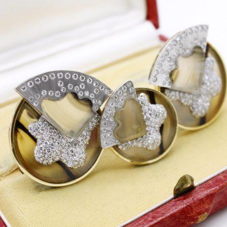 Demi parure vintage anni '70 in oro giallo e bianco agata e diamanti