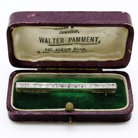 Spilla barretta del XIX secolo in oro giallo platino e diamanti taglio antico