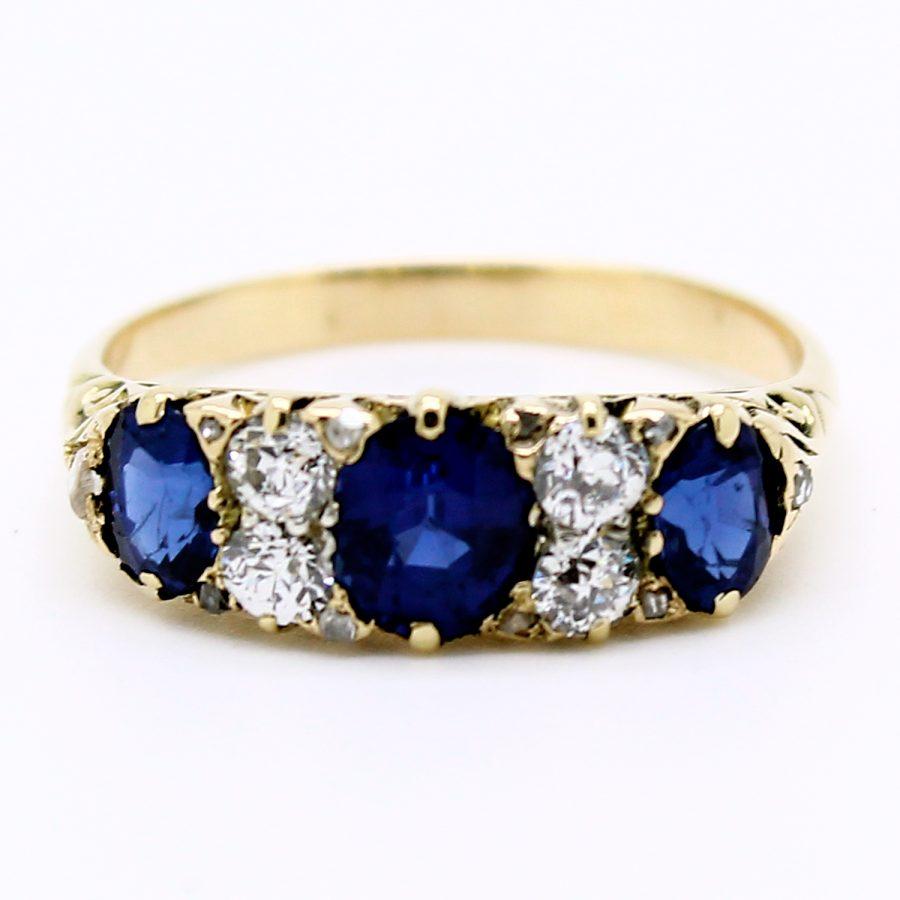 Anello riviera vittoriana con diamanti e zaffiri